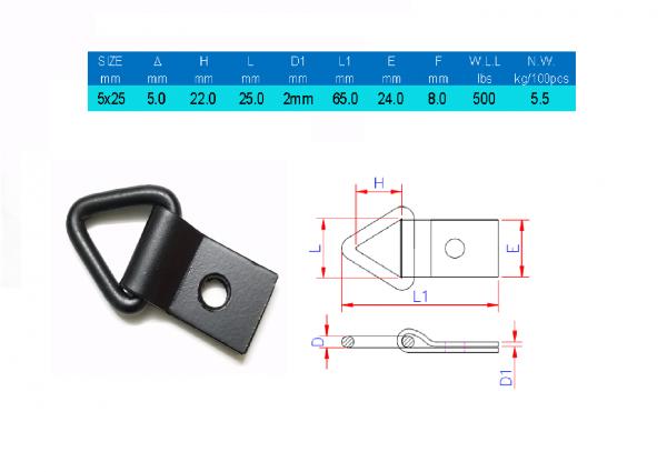 Móc chữ D tam giác 1 lỗ chằng hàng