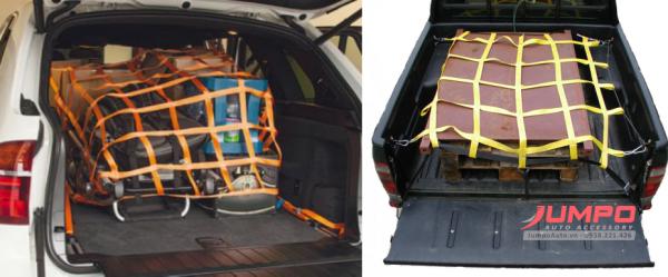 Lưới trùm hàng thùng xe bán tải bản 140x150cm ô 15cm