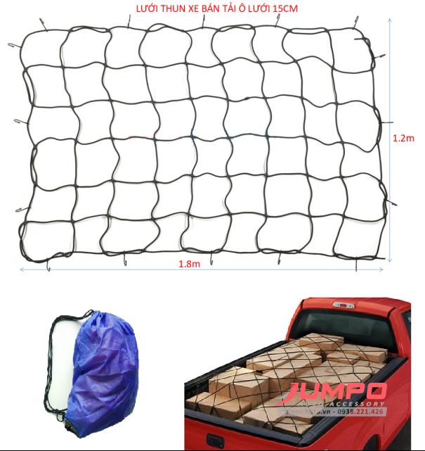 Lưới thun trùm hàng thùng xe bán tải 120x180cm